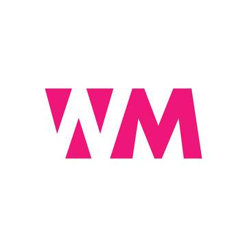 WM Logo. Vector Graphic Branding Letter Element. White Background