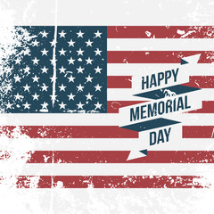 Happy Memorial Day USA grunge Flag Background