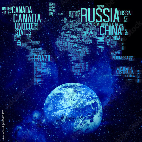 World Map Countries Name Typography On Space And Earth Background - Earth map with country names