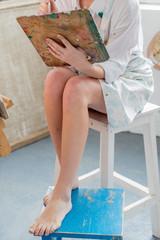 painter in her studio