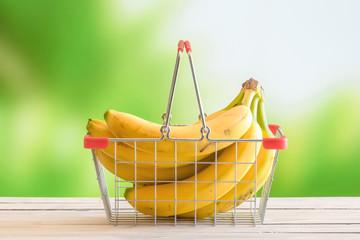 Bananas in a shopping cart