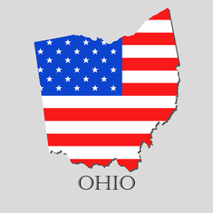 Map State of Ohio in American Flag - vector illustration.