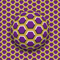 Ball with a hexagons pattern rolling along the hexagons surface. Abstract vector optical illusion illustration. Motley background and tile of seamless wallpaper.