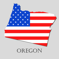 Map State of Oregon in American Flag - vector illustration.