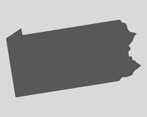 Black map state Pennsylvania - vector illustration.