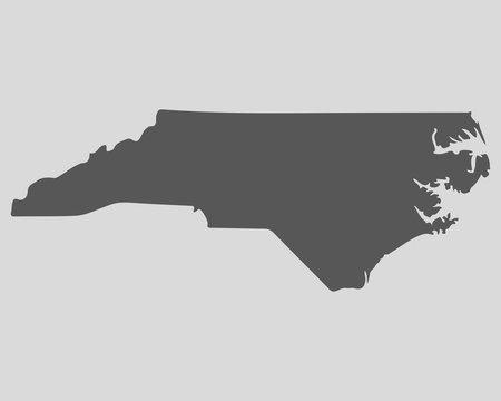 Black map state North Carolina - vector illustration.
