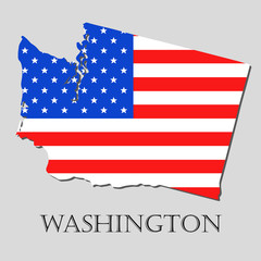 Map State of Washington in American Flag - vector illustration.