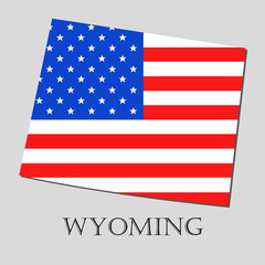 Map State of Wyoming in American Flag - vector illustration.