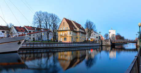 Early morning over the Old Town district. Dane river. Klaipeda, Lithuania
