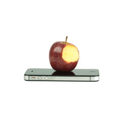 Red apple with missing a bite and smart phone Isolated on white