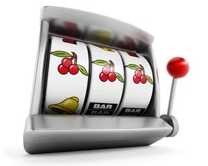 Slot machine with three cherries isolated on white background