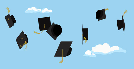 Graduation ceremony. Student celebration. Vector.