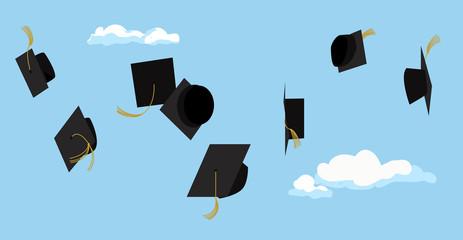 Graduation ceremony. Student celebration. Vector.