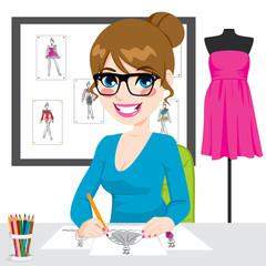 Fashion Designer Drawing Sketches