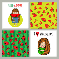 Set of backgrounds watermelon and sweet girls.