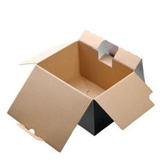 open cardboard box isolated on white