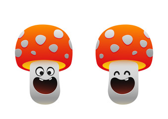 cheerful mushroom smiling two types red