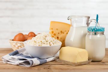 Milk jar on wooden table