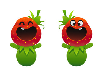 Cute Strawberry fruit character with happy smile