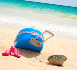 Holiday Accessories Suitcase Hat Slipper Beach Sea