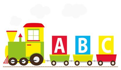 Simple abc toy train - vectors illustration for children
