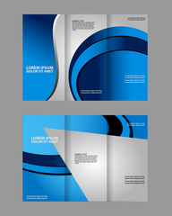 Template design trifold brochure with polygons, polygonal sphere. Editable and light vector with places for photos. Proportionally A4