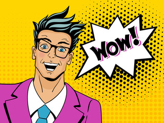 Wow pop art man. Young surprised man in glasses with open mouth.