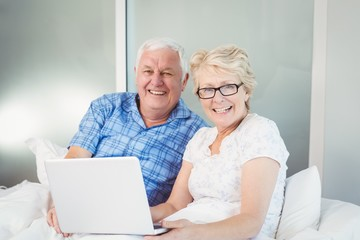 Portrait of happy couple with laptop