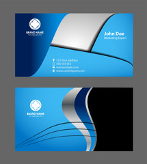 Modern vector business card - blue color