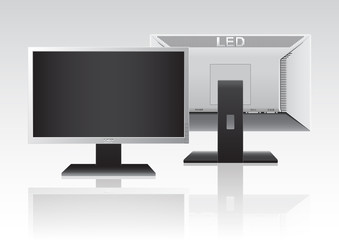 Front and back of High Definition LED Monitor. isolated on white background. Vector illustration.