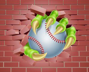 Claw with Baseball Ball Breaking Through Brick Wall