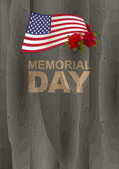 Memorial Day in USA. US American flag, rose and lettering text