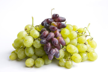 Red and green grape isolated on white background