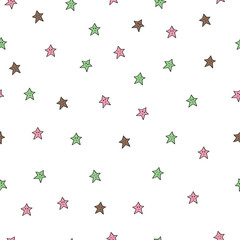 Seamless pattern with coloured stars on white background