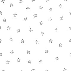 Seamless pattern with black stars on white background