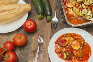 calabacin gratinado, al horno,con tomates