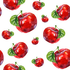 Watercolor summer insulated red apple pattern