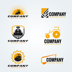 Yellow and black Tractor logo vector set design