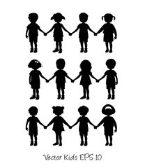 Set of little kids silhouettes holding hands