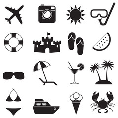 Beach icons and Summer signs set isolated on white background. Travel and vacation vector illustration.