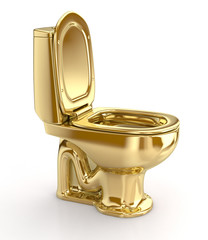 Golden WC toilet. 3d illustration. Isolated on white