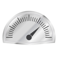 Speedometer or tachometer with arrow on metallic dashboard isolated on white background. Infographic gauge element. Vector icon or sign.