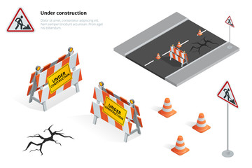Road repair, under construction road sign, Repairs, maintenance and construction of pavement, Road closed sign with orange lights against. Flat 3d vector isometric illustration.