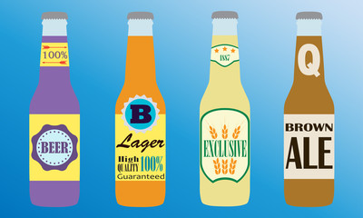Beer bottles set with label. Colorful vector icon or sign. Symbol or design elements for restaurant, beer pub or cafe.