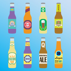 Beer bottles set with labels. Colorful vector icon or sign. Symbol or design elements for restaurant, beer pub or cafe.