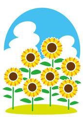夏 活き活き 向日葵