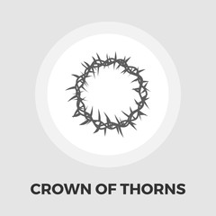 Crown of thorns icon flat