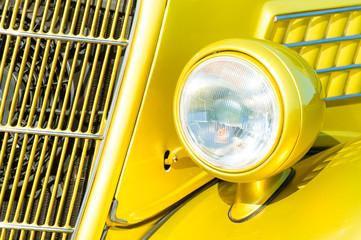 Wall Mural - retro car grille and headlight closeup