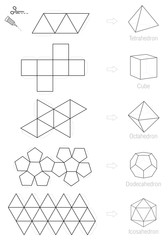 Platonic solids - coloring picture and craft pattern template.