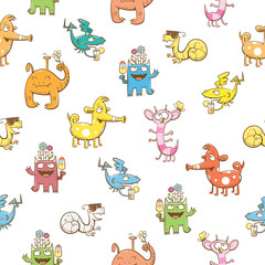 Seamless pattern with cute cartoon monsters on a white  background. Vector image.